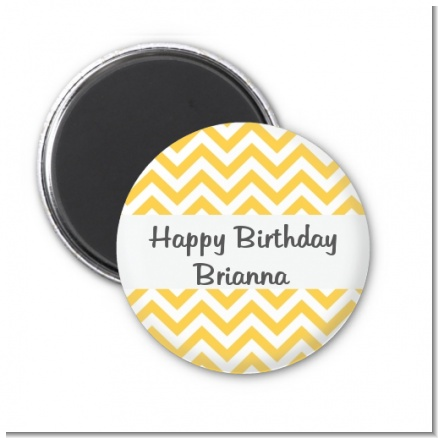 Chevron Yellow - Personalized Birthday Party Magnet Favors