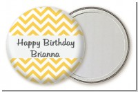Chevron Yellow - Personalized Birthday Party Pocket Mirror Favors