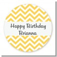 Chevron Yellow - Round Personalized Birthday Party Sticker Labels thumbnail