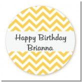 Chevron Yellow - Round Personalized Birthday Party Sticker Labels