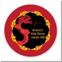 Chinese New Year Dragon - Round Personalized Baby Shower Sticker Labels
