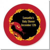 Chinese New Year Snake - Round Personalized Baby Shower Sticker Labels