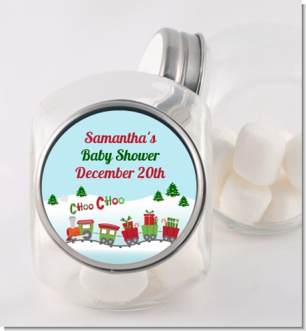 Choo Choo Train Christmas Wonderland - Personalized Baby Shower Candy Jar