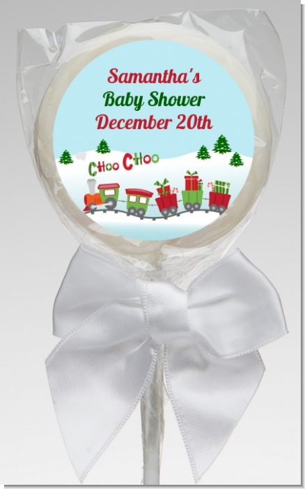 Choo Choo Train Christmas Wonderland - Personalized Baby Shower Lollipop Favors