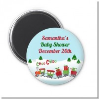 Choo Choo Train Christmas Wonderland - Personalized Baby Shower Magnet Favors