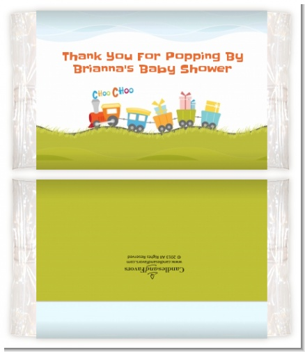 Choo Choo Train - Personalized Popcorn Wrapper Baby Shower Favors