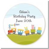 Choo Choo Train - Round Personalized Birthday Party Sticker Labels