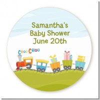 Choo Choo Train - Round Personalized Baby Shower Sticker Labels