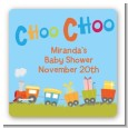 Choo Choo Train - Square Personalized Baby Shower Sticker Labels thumbnail