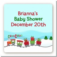 Choo Choo Train Christmas Wonderland - Square Personalized Baby Shower Sticker Labels