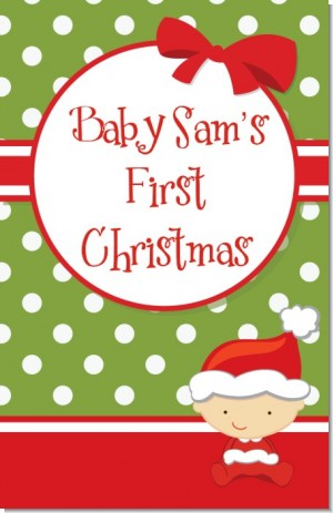Christmas Baby Caucasian - Personalized Baby Shower Wall Art