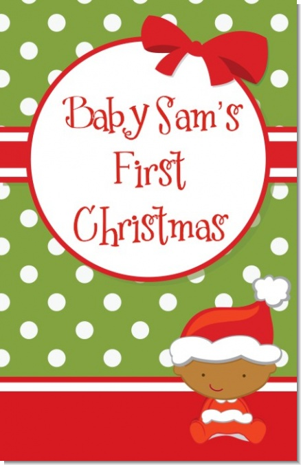 Christmas Baby African American - Personalized Baby Shower Wall Art