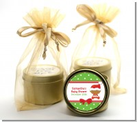 Christmas Baby African American - Baby Shower Gold Tin Candle Favors