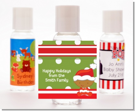 Christmas Baby African American - Personalized Christmas Hand Sanitizers Favors