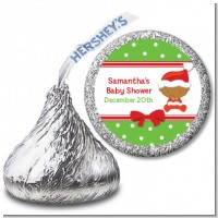 Christmas Baby African American - Hershey Kiss Baby Shower Sticker Labels