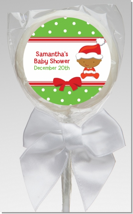 Christmas Baby African American - Personalized Baby Shower Lollipop Favors