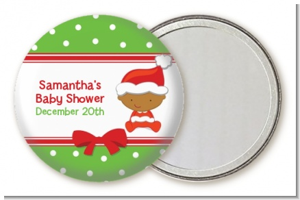 Christmas Baby African American - Personalized Baby Shower Pocket Mirror Favors