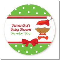 Christmas Baby African American - Round Personalized Baby Shower Sticker Labels