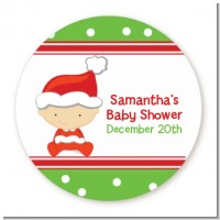Christmas Baby Caucasian - Round Personalized Baby Shower Sticker Labels