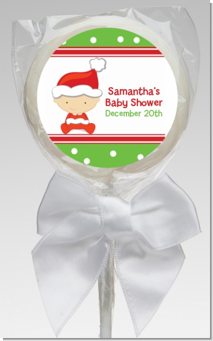 Christmas Baby Caucasian - Personalized Baby Shower Lollipop Favors