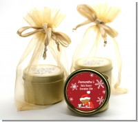 Christmas Baby Snowflakes African American - Baby Shower Gold Tin Candle Favors
