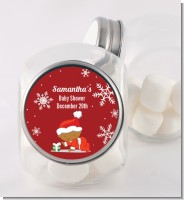 Christmas Baby Snowflakes African American - Personalized Baby Shower Candy Jar