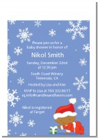Christmas Baby Snowflakes African American - Baby Shower Petite Invitations
