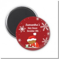 Christmas Baby Snowflakes African American - Personalized Baby Shower Magnet Favors