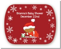 Christmas Baby Snowflakes African American - Personalized Baby Shower Rounded Corner Stickers