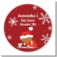 Christmas Baby Snowflakes African American - Round Personalized Baby Shower Sticker Labels thumbnail