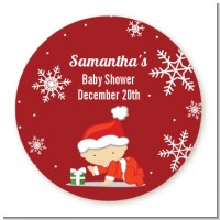 Christmas Baby Snowflakes - Round Personalized Baby Shower Sticker Labels