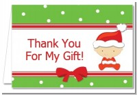 Christmas Baby Caucasian - Baby Shower Thank You Cards