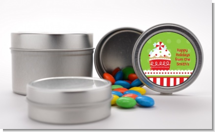 Christmas Cupcake - Custom Christmas Favor Tins