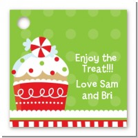 Christmas Cupcake - Personalized Christmas Card Stock Favor Tags