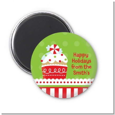 Christmas Cupcake - Personalized Christmas Magnet Favors