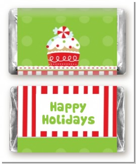 Christmas Cupcake - Personalized Christmas Mini Candy Bar Wrappers