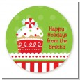 Christmas Cupcake - Round Personalized Christmas Sticker Labels thumbnail