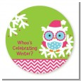 Winter Owl - Round Personalized Christmas Sticker Labels thumbnail