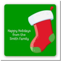 Christmas Stocking - Square Personalized Christmas Sticker Labels