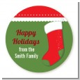 Christmas Stocking - Round Personalized Christmas Sticker Labels thumbnail