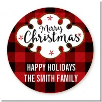 Christmas Time - Round Personalized Christmas Sticker Labels