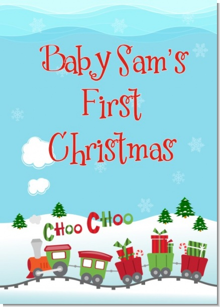 Choo Choo Train Christmas Wonderland - Personalized Baby Shower Wall Art