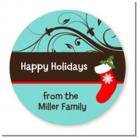 Christmas Tree and Stocking - Round Personalized Christmas Sticker Labels