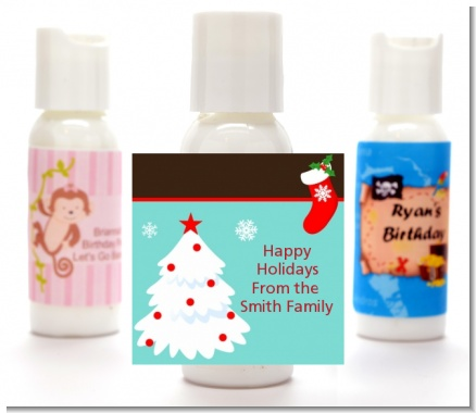 Christmas Tree and Stocking - Personalized Christmas Lotion Favors