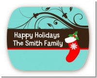 Christmas Tree and Stocking - Personalized Christmas Rounded Corner Stickers