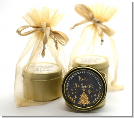 Christmas Tree Gold Glitter - Christmas Gold Tin Candle Favors