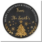 Christmas Tree Gold Glitter - Round Personalized Christmas Sticker Labels