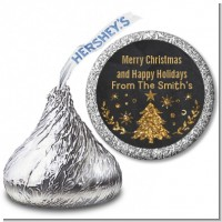 Christmas Tree Gold Glitter - Hershey Kiss Christmas Sticker Labels