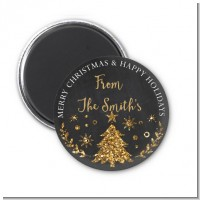Christmas Tree Gold Glitter - Personalized Christmas Magnet Favors