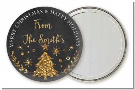 Christmas Tree Gold Glitter - Personalized Christmas Pocket Mirror Favors